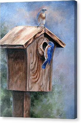 Canvas Print featuring the painting Supervised Feeding by Mary McCullah