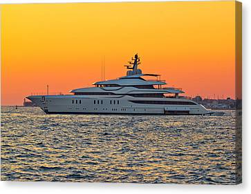 Superyacht On Yellow Sunset View Canvas Print