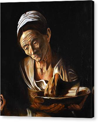 Supper In Emmaus After Caravaggio Detail Old Woman Canvas Print by Massimo Tizzano