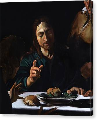 Supper In Emmaus Detail Canvas Print by Massimo Tizzano