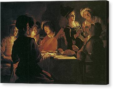 Supper Party With Lute Player Canvas Print by Gerrit van Honthorst