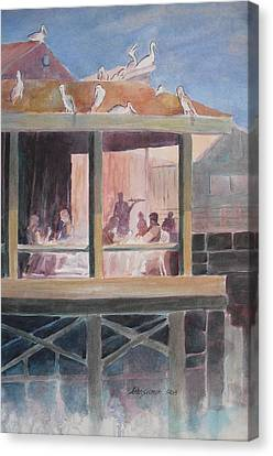 Canvas Print featuring the painting Supper Time by John  Svenson
