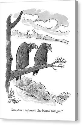 Vulture Canvas Print - Sure, Dead Is Important.  But It Has To Taste by Peter Steiner
