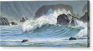 Surf And Rocks-harris Beach Canvas Print by Paul Krapf