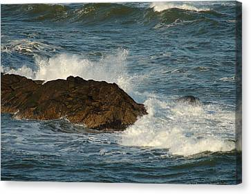 Canvas Print featuring the photograph Surf And Rocks by Ron Roberts