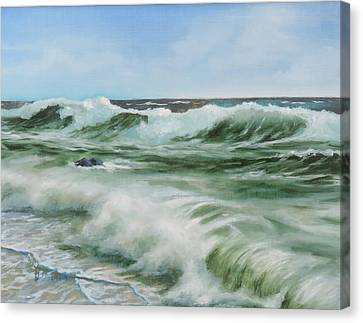 Canvas Print featuring the painting Surf At Castlerock by Barry Williamson
