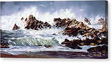 Canvas Print featuring the painting Surf At Lincoln City by Craig T Burgwardt