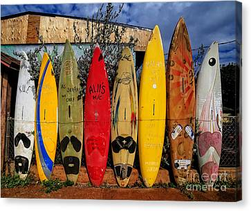 Motors Canvas Print - Surf Board Fence Maui Hawaii by Edward Fielding