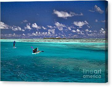 Surf Board Paddling In Moorea Canvas Print by David Smith