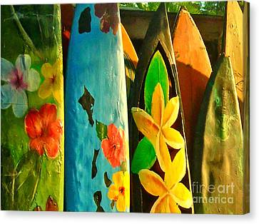 Surf Boards Canvas Print by Wingsdomain Art and Photography