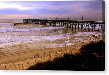 Topsail Island Canvas Print - Surf City Pier by Karen Wiles