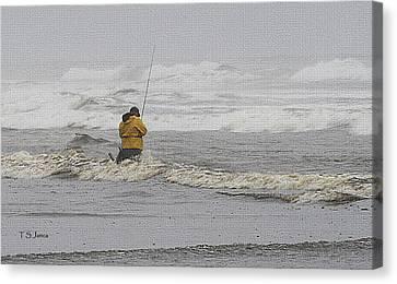 Surf Fishing Enthusiast Canvas Print by Tom Janca
