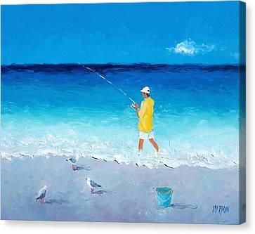 Surf Fishing Canvas Print by Jan Matson
