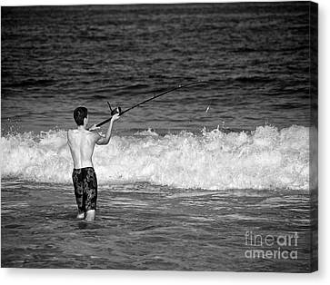 Surf Fishing Canvas Print by Mark Miller