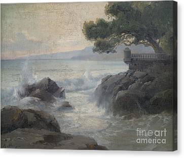 Surf On A Rocky Coast Canvas Print by Celestial Images