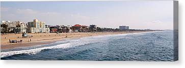Surf On The Beach, Santa Monica Beach Canvas Print by Panoramic Images