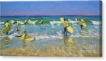 Surf School At St Ives Canvas Print by Andrew Macara