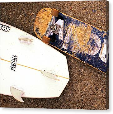 Surf Skate Fins And Wheels Canvas Print by Ron Regalado