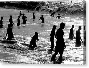 Surf Swimmers Canvas Print by Sean Davey