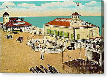 Surf Theatre And Seaview Pavilion At Salisbury Beach Ma 1937 Canvas Print