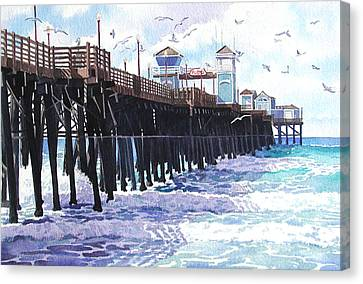 Surf View Oceanside Pier California Canvas Print by Mary Helmreich