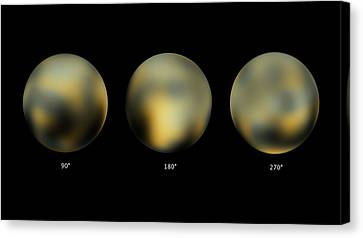 Surface Of Pluto Canvas Print by Nasa/esa/stsci