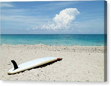 Surfboard On Beach Canvas Print
