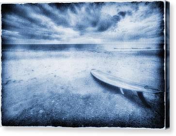 Surfboard On The Beach Canvas Print by Skip Nall