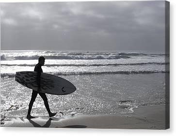Canvas Print featuring the digital art Surfer At Dusk by Dawn Romine
