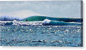 Bali Canvas Print - Surfer At Padang Padang by Nathan Ledyard