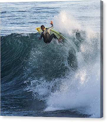 Surfer At Steamer Lane Canvas Print by Bruce Frye