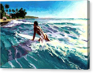Surfer Coming In Canvas Print by Douglas Simonson