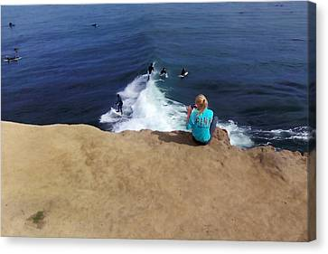 Observer Canvas Print - Surfer Fan by Art Block Collections