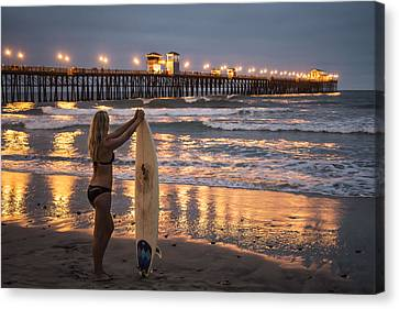 Canvas Print featuring the photograph Surfer Girl At Oceanside Pier 1 by Lee Kirchhevel