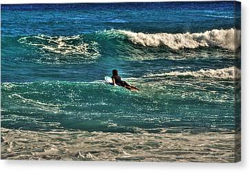 Canvas Print featuring the photograph Surfer On His Way Up Waves by Julis Simo
