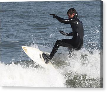 Canvas Print featuring the photograph Surfer On White Water by John Telfer