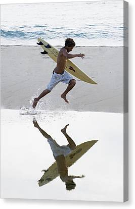Surfer Running With Surfboard Canvas Print