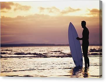 Surfer Silhouette Canvas Print by Daniel Sicolo