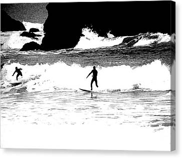 Canvas Print featuring the photograph Surfer Silhouette by Kathy Churchman