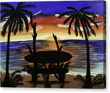 Surfers Bench Canvas Print by Donna Guzman