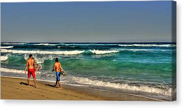 Canvas Print featuring the photograph Surfers by Julis Simo