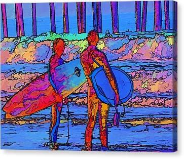 Canvas Print featuring the photograph Surfers by Kathy Churchman