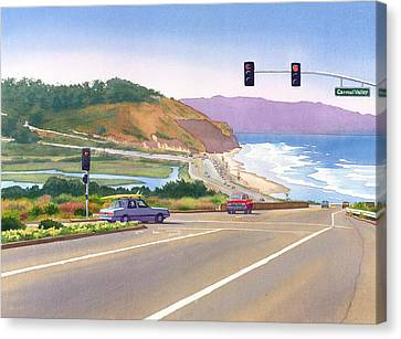 Surfers On Pch At Torrey Pines Canvas Print by Mary Helmreich