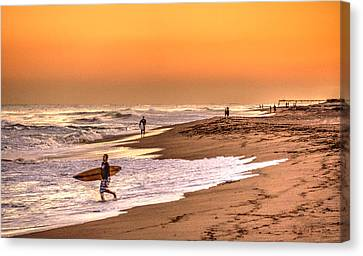Canvas Print featuring the digital art Surfers' Sundown by Julis Simo