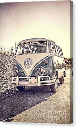 Surfer's Vintage Vw Samba Bus At The Beach Canvas Print by Edward Fielding