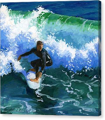 Surfin' Huntington Beach Pier Canvas Print by Alice Leggett