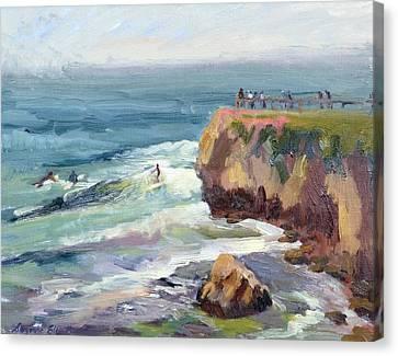 Surfing At Steamers Lane Santa Cruz Canvas Print by Suzanne Elliott
