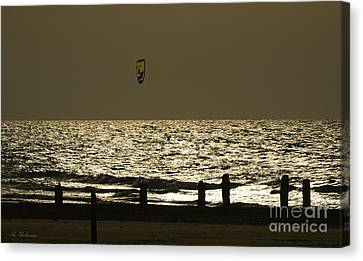 Surfing At Sunset Canvas Print by Arik Baltinester