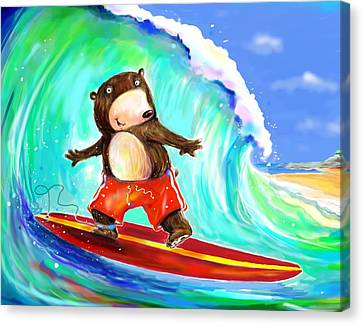 Overhearing Canvas Print - Surfing Bear by Scott Nelson