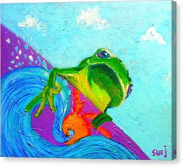Surfing Froggie Canvas Print